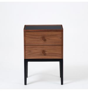 Exclusive Monument 2-Drawer Bedside Table in Walnut & Ash