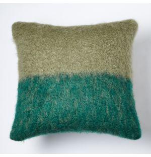 Mohair Colour Block Cushion Sage & Green 50cm x 50cm