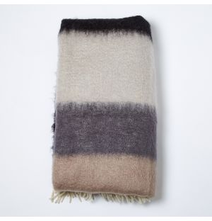 Mohair Throw Black & Taupe