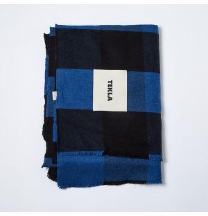 Fine Merino Plaid Throw Blue & Black