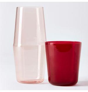 Luisa Bonne Nuit Carafe & Glass in Red & Pink