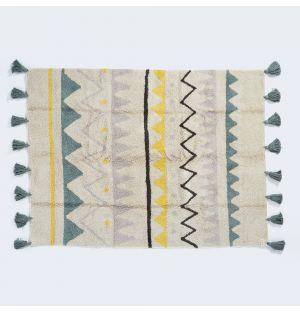 Azteca Washable Vintage Rug Natural & Blue