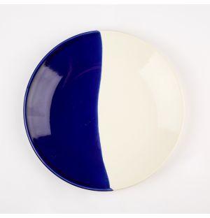 Dip Side Plate Cobalt & Cream 22cm