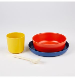 Bamboo Dinner Set Red, Blue & Yellow