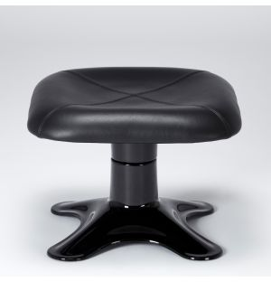 Limited Edition Karuselli Ottoman in All Black Prestige Leather