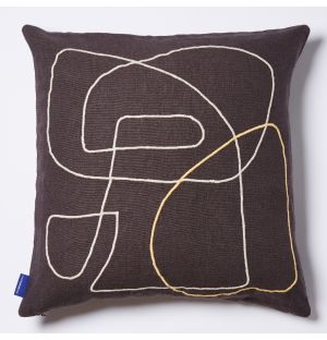Mino Lines Embroidered Cushion Cover in Black 45cm x 45cm