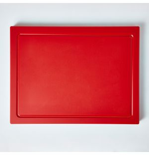 Chopping Board with Groove in Red