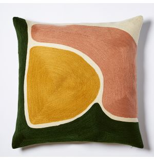 Mesa Embroidered Cushion Cover in Green & Multi 45cm x 45cm