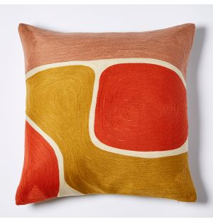 Mesa Embroidered Cushion Cover in Red & Multi 45cm x 45cm