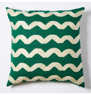 Wavy Crewel Embroidered Cushion Cover in Green 50cm x 50cm