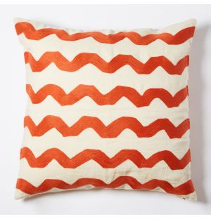 Wavy Crewel Embroidered Cushion Cover in Red 50cm x 50cm