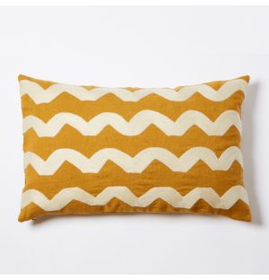 Wavy Crewel Embroidered Cushion Cover in Yellow 30cm x 50cm