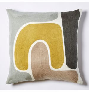 Knoss Crewel Embroidered Cushion Cover in Ochre & Multi 45cm x 45cm