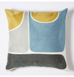 Knoss Crewel Embroidered Cushion Cover in Blue & Multi 45cm x 45cm