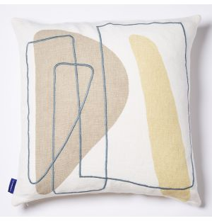 Mino Lines Embroidered Cushion Cover in Natural & Yellow 45cm x 45cm