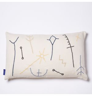 Cena Embroidered Cushion Cover in Natural 30cm x 50cm