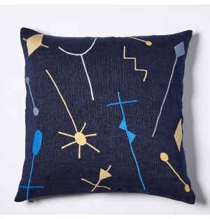 Cena Embroidered Cushion Cover in Navy 45cm x 45cm