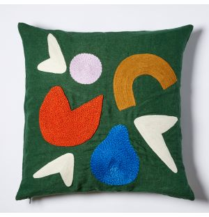Lago Embroidered Cushion Cover in Green 45cm x 45cm