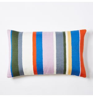 Meja Stripe Embroidered Cushion Cover in Multi 30cm x 50cm
