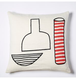 Vase Embroidered Cushion Cover in White & Red 45cm x 45cm