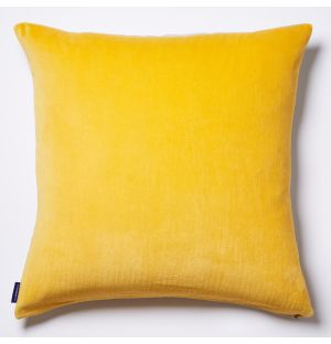 Velvet Cushion Cover in Lemon Yellow 50cm x 50cm