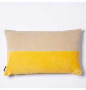 Tonal Velvet Cushion Cover in Lemon & Yellow 30cm x 50cm