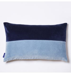 Tonal Velvet Cushion Cover in Navy & Blue 30cm x 50cm