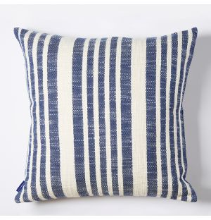 Woven Stripe Cushion Cover in Blue 50cm x 50cm