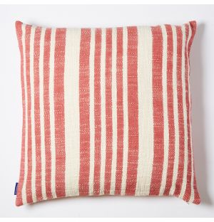 Woven Stripe Cushion Cover in Red 50cm x 50cm