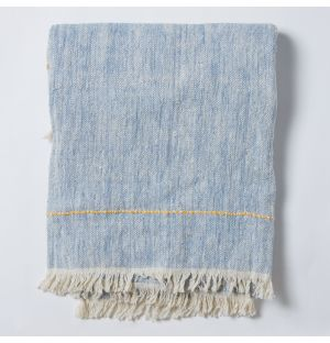 Contrast Cotton Throw in Blue