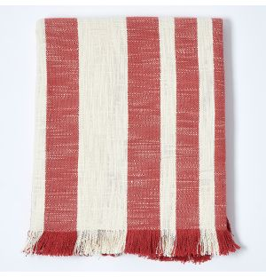 Woven Throw in Red Stripe