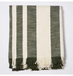 Woven Throw in Green Stripe
