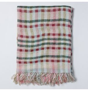 Woven Silk Throw in Pink & Green