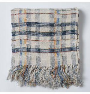 Woven Silk Throw in Blue