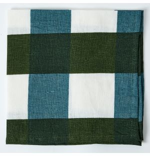 Linen Napkin in Green & Blue Check