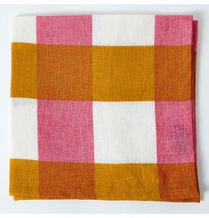 Linen Napkin in Ochre & Pink Check
