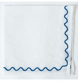 Scalloped Embroidered Napkin in Blue