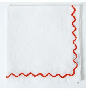 Scalloped Embroidered Napkin in Red