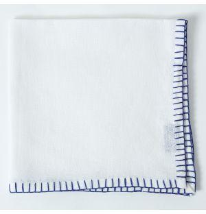 Contrast Stitch Linen Napkin in White & Blue