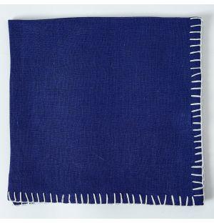Contrast Stitch Linen Napkin in Blue & White