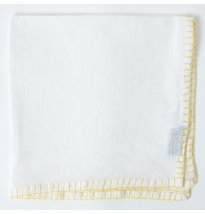 Contrast Stitch Linen Napkin in White & Yellow