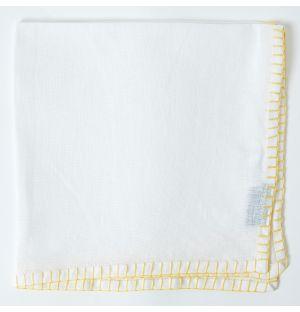 Contrast Stitch Linen Napkin in White & Yellow