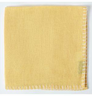 Contrast Stitch Linen Napkin in Yellow & White