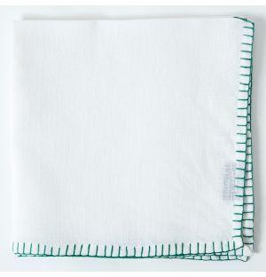 Contrast Stitch Linen Napkin in White & Green