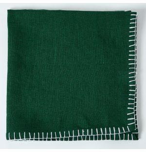 Contrast Stitch Linen Napkin in Green & White