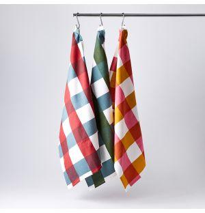 Tea Towels in Multi Check Set of 3