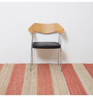 Wide Jute Stripe Rug in Orange