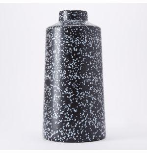 Tall Speckled Vase in Black