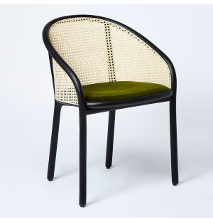 Latis Chair in Black Ash & Duro Velvet Seat Upholstery