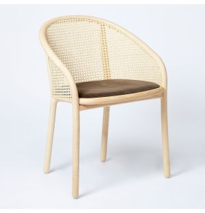 Latis Chair in Natural Ash & Duro Velvet Seat Upholstery